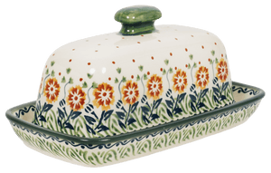 American Butter Dish (Green Floral Vine)