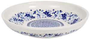 "11.75"" Shallow Salad Bowl (Duet in Blue & White)"