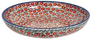"11.75"" Shallow Salad Bowl (Floral Revival Red)"