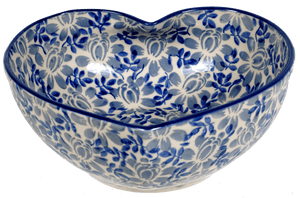 Large Heart Bowl (English Blue)