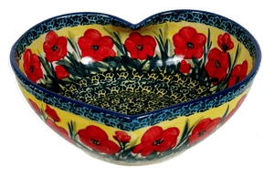 Extra Large Heart Bowl (Poppies in Bloom)