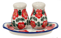 Salt & Pepper Set W/Tray (Red Tethered Blossoms)