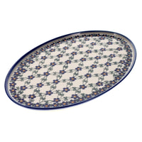 "13.5"" x 8.75"" Oval Platter (Blue Lattice) 