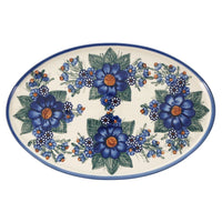 "13.5"" x 8.75"" Oval Platter (Blue Bouquet) 