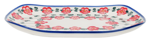 Curved Serving Platter (Red Tethered Blossoms)