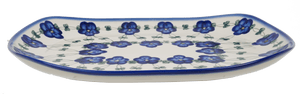 Curved Serving Platter (Blue Tethered Blossoms)