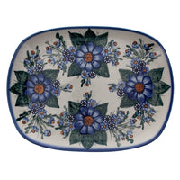 Curved Serving Platter (Blue Bouquet) | NDA173-7