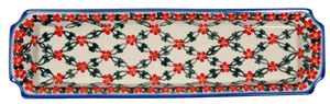 Long Rectangular Tray (Red Lattice)