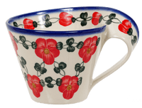 Curved-Handle Mug (Red Tethered Blossoms)