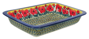 "9.75"" x 15"" Rectangular Baker (Poppies in Bloom)"