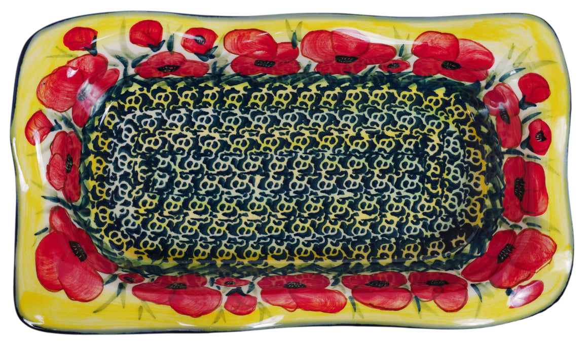 "6""x10.5"" Rectangular Wavy Baker (Poppies in Bloom)"