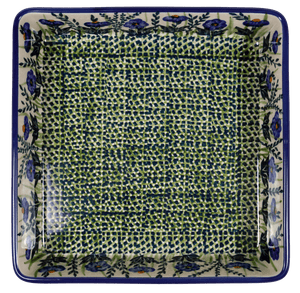 "8"" Square Baker (Bouncing Blue Blossoms)"