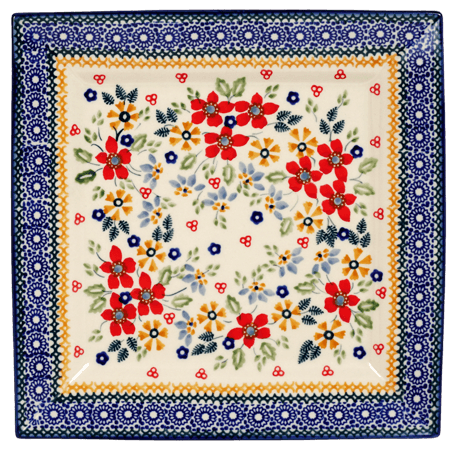 Polish Pottery 9 Quot Square Salad Plate Ruby Bouquet