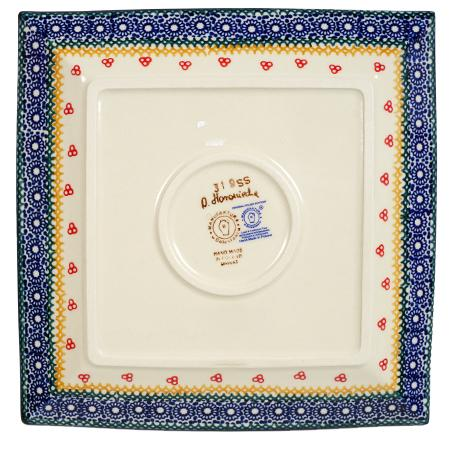 "9"" Square Salad Plate (Ruby Bouquet)"