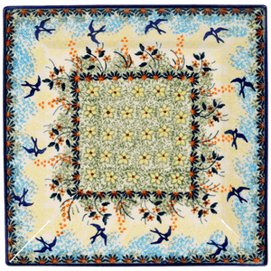 "9"" Square Salad Plate (Soaring Swallows)"