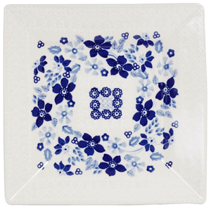 "7"" Square Dessert Plates (Duet in Blue & White)"