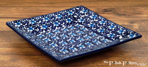 "7"" Square Dessert Plates (Blue on Blue)"
