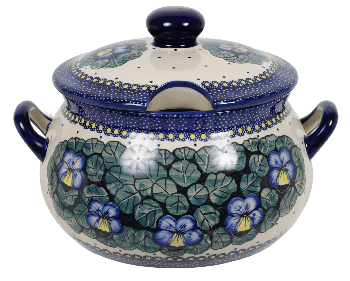 3 Liter Soup Tureen with Handle (Pansies)