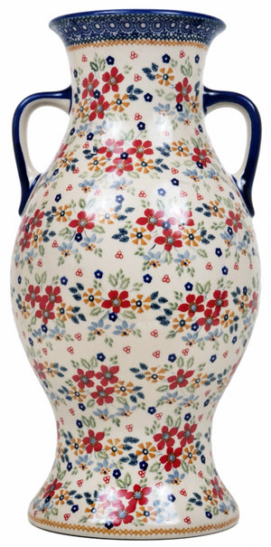 Large Vase w/handles (Ruby Bouquet)