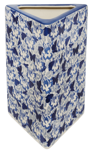 Triangular Vase (Dusty Blue Butterflies)