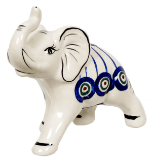Medium Elephant Figurine (Peacock in Line)