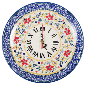 "10"" Round Plate Wall Clock (Ruby Bouquet)"
