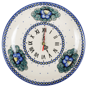 "10"" Round Plate Wall Clock (Pansies)"