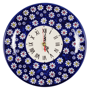 "10"" Round Plate Wall Clock (Midnight Daisies)"