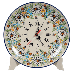 "10"" Round Plate Wall Clock (Daisy Bouquet)"