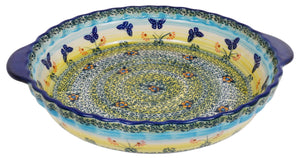 Pie Plate with Handles (Butterflies in Flight)
