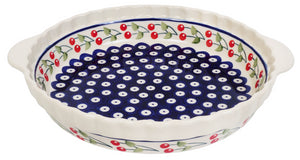 Pie Plate with Handles (Cherry Dot)