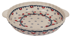 Pie Plate with Handles (Red Bird)