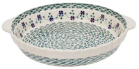 Pie Plate with Handles (Woven Pansies)
