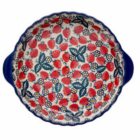 Pie Plate with Handles (Strawberry Fields)