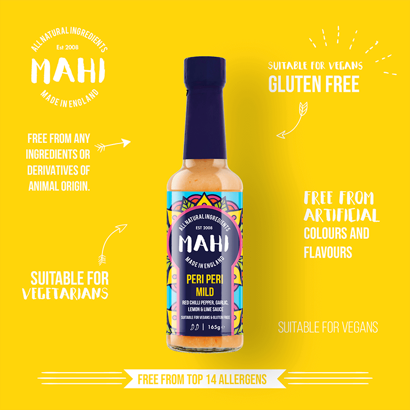 Peri Peri Mild Sauce, MAHI, BBQ, Free From Top 14 Allergens, Hot Sauce, Suitable For Vegans, Suitable For Vegetarians, Sweet Heat Sauce