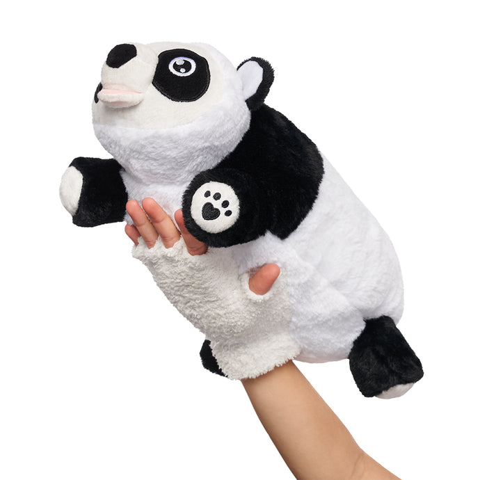 Side angle Panda Snuggle Glove Travel Pillow for Kids