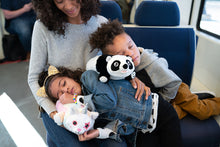 Load image into Gallery viewer, Panda Snuggle Glove Travel Pillow for Kids on train