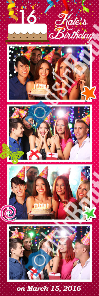 Sweet 16 or Any Birthday Four Poses Vertical Strip