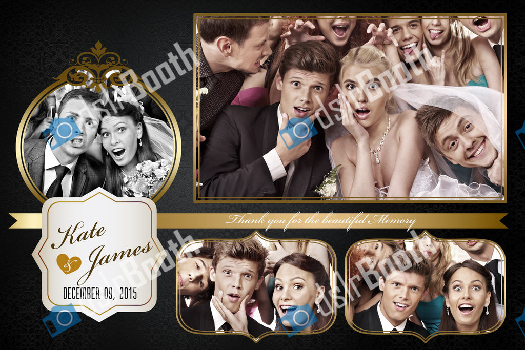 Wedding Black and Gold Four Poses Horizontal