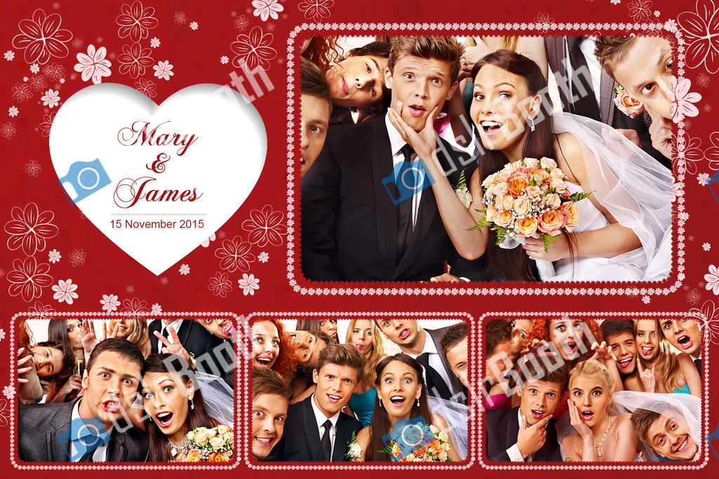 Wedding Red White heart Four Poses Horizontal
