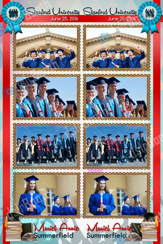 Graduation Ribbon Four Poses, Double Strip
