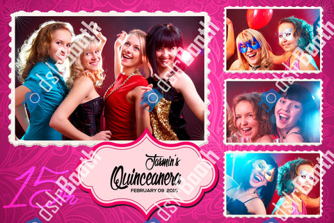 Quinceanera Pink 1 Large 3 Small Poses Horizontal