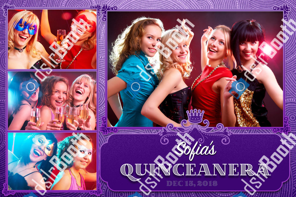 Quinceanera Purple 1 Large 3 Small Poses Horizontal