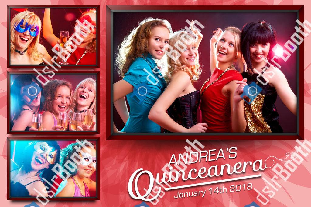 Quinceanera Red Coral Four Poses Horizontal