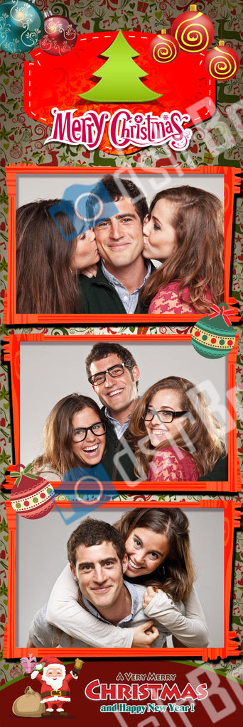 Christmas 3 Poses Red Frames Vertical Strip