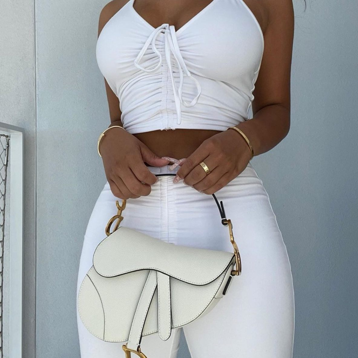 White Lace-Up Ruched Flare Pants & Halter Crop Top
