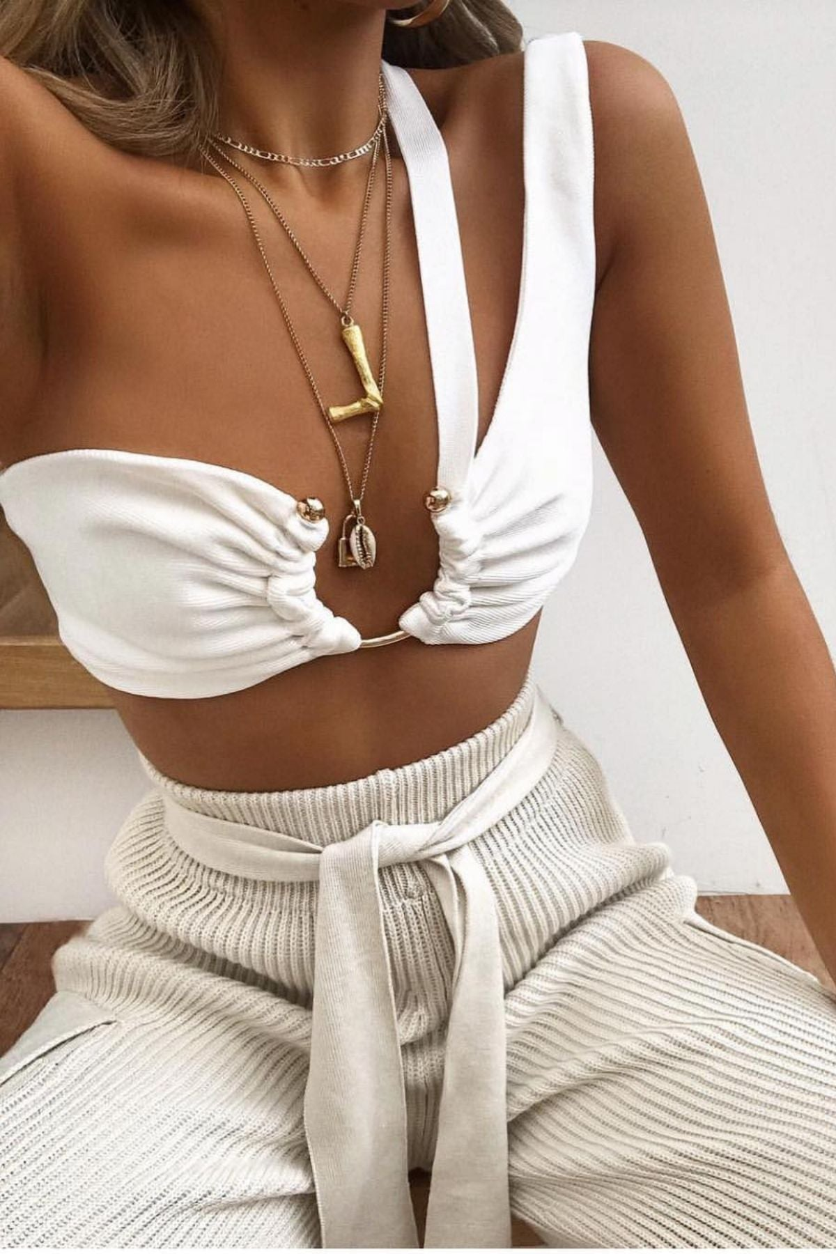 Women's White One Shoulder Cut Out Detail Crop Top