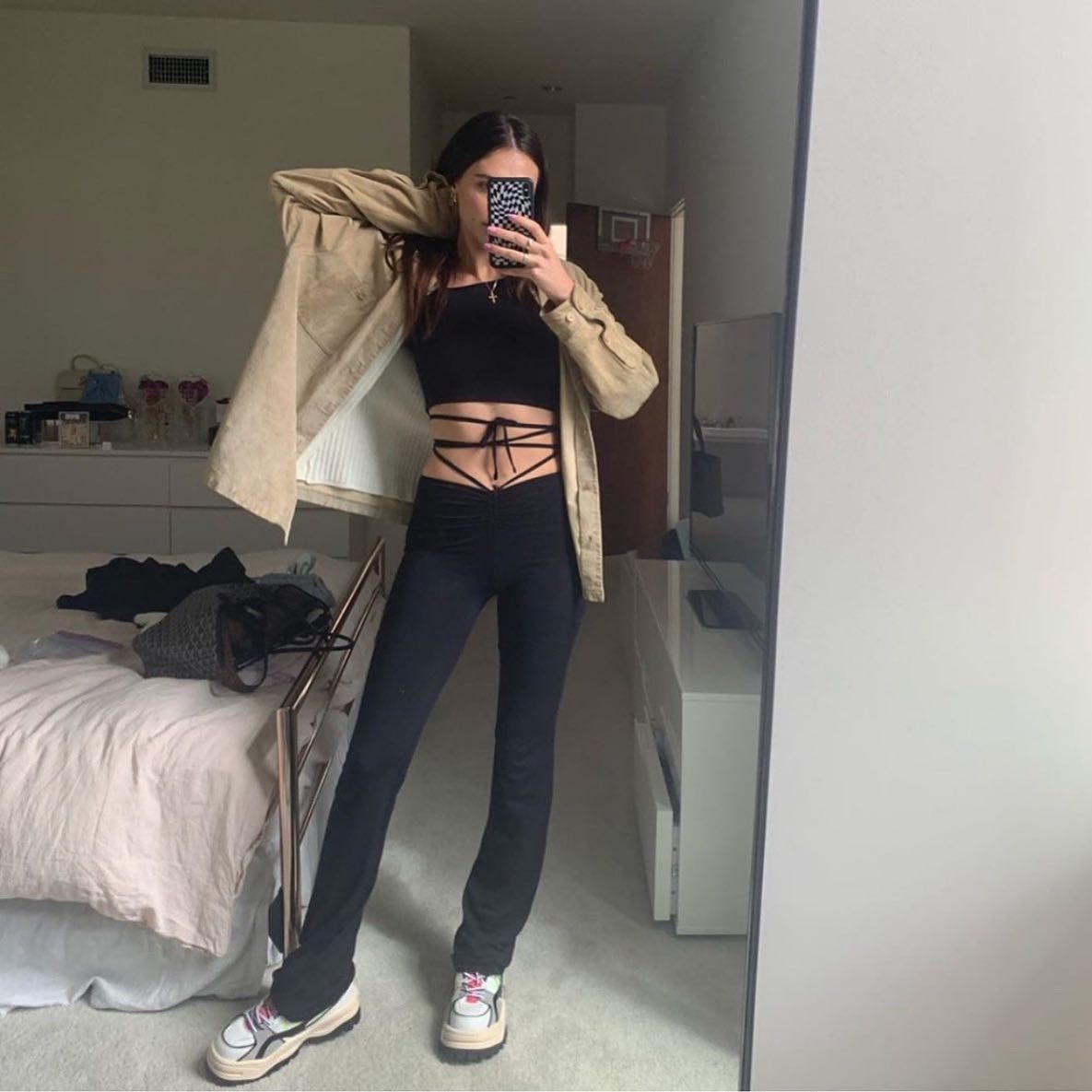 Black Lace-Up Ruched Flare Pants & Halter Crop Top