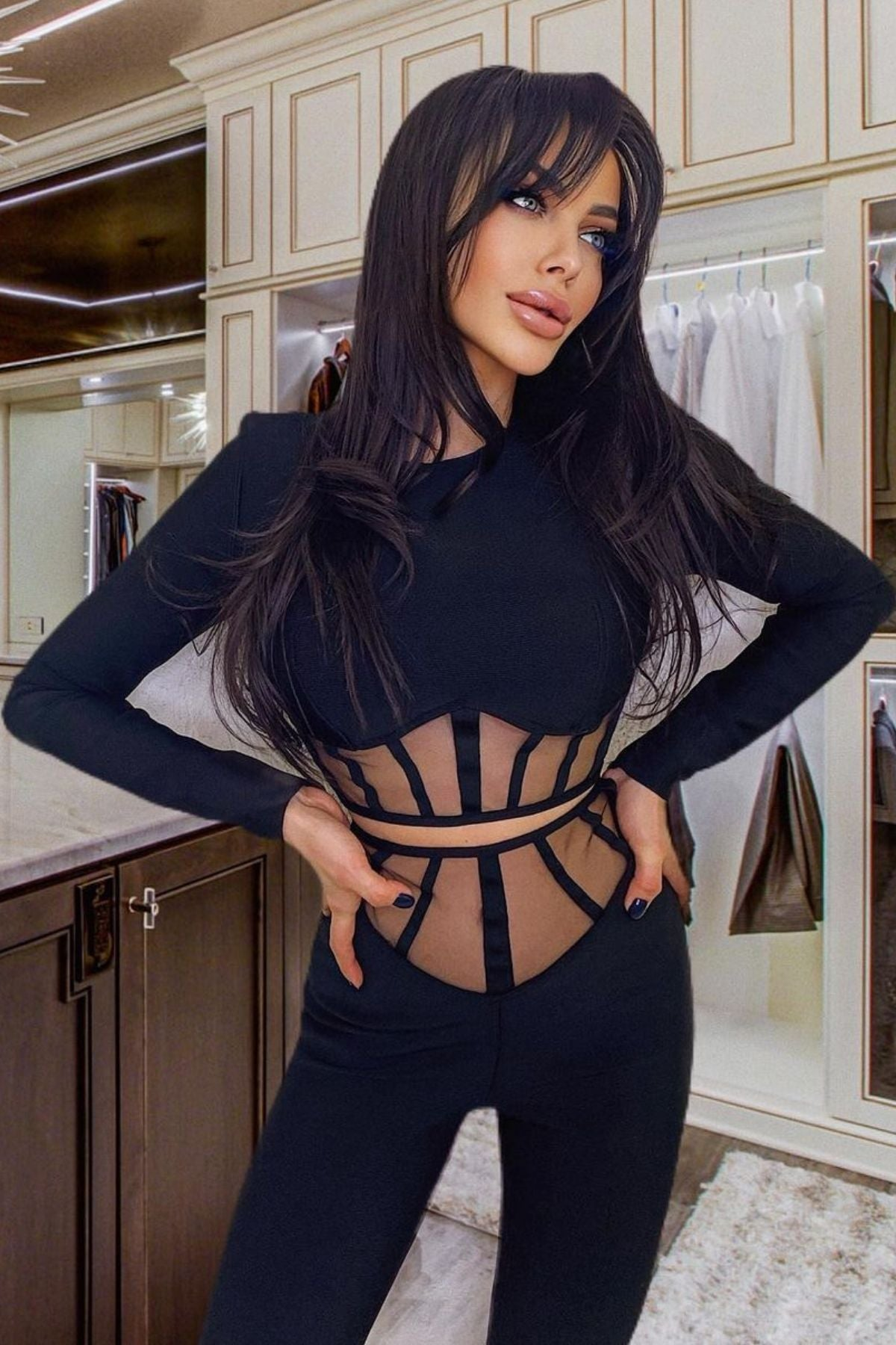 Women's Black Long Sleeve Crop Top And High Waisted  Two Piece Pant Set
