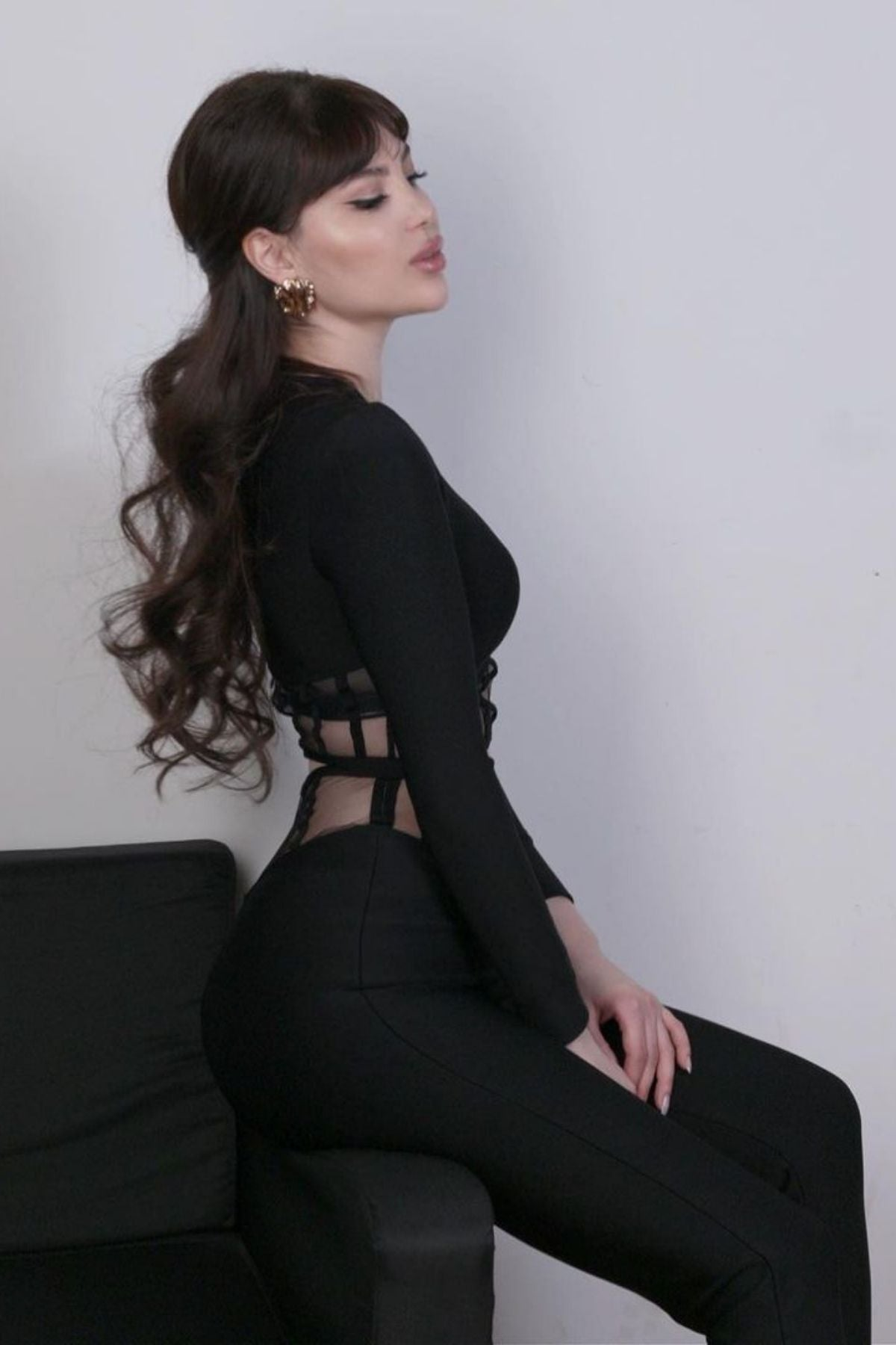 Women's Black Long Sleeve Crop Top And High Waisted Mesh Block Two Piece Pant Set